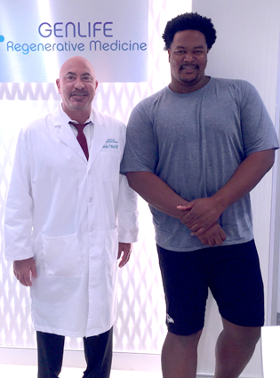 Dr. Charles Mahl and Bryant McKinnie